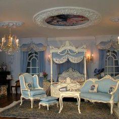 Bedroom, Dolls House in scale. Bedroom, Dolls House in scale. Miniature Dollhouse Furniture, Miniature Rooms, Miniature Houses, Doll House Miniatures, My Doll House, Barbie House, Doll Houses, Victorian Bedroom, Victorian Furniture