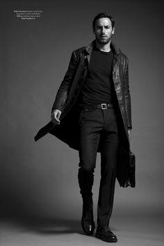 Josh Wald 2014 - John Varvatos Leather Trench Coat. Alden Shoes, Paul Smith Belt #joshwald #models