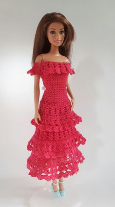 Crochet 12 inch doll dress.