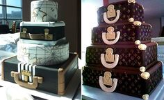 suitcase cakes vintage luggage cakes from Sweet Face Cakes (left) and from oksugar.com (right) suitcas cake, luggag cake, beauti cake, cake inspir, parti cake, cake vintag, decor cake, face cake