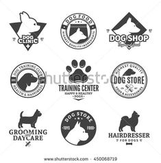 Set of vector dog logo and icons for dog club or shop, grooming, training, food or veterinary clinic.