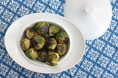 Roasted Brussels sprouts with maple mustard glaze