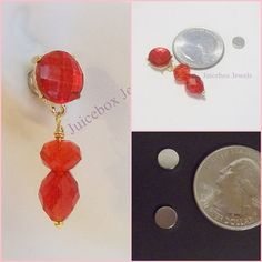 MAGNETIC Earrings RED Rhinestone Glass & Acrylic by JuiceboxJewels #Magneticearrings #NonPierced