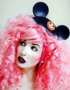 Audrey Kitching and Mickey Mouse Ears Hat Photograph Pink Makeup, Hair Makeup, Hair Hacks, Hair Tips, Hair Ideas, Mickey Mouse Ears Hat, Audrey Kitching, Dramatic Hair, Coloured Hair