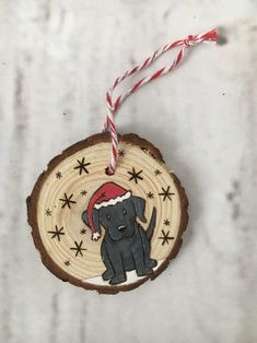 Dog Wood Slice Ornament Etsy Happy New Year Painted Christmas Ornaments, Dog Ornaments, Christmas Wood, Handmade Christmas, Merry Christmas, Christmas Decorations, Beach Christmas, Handmade Ornaments, Christmas Projects