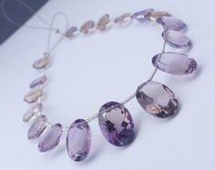 "50ct Ametrine Beads AAA Faceted Ametrine Oval Cut Stone Ametrine Briolette Loose Ametrine Gemstone Beads Full 7"" Strand Free Ship AMXV0F0002"