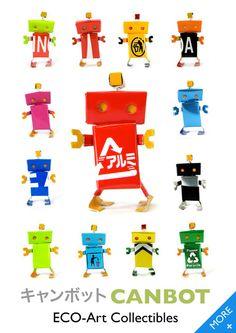 """Orson Li, artist from Hong Kong, made cute """"canbot"""" from aluminium cans."""