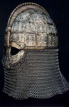 A replica of a helmet from Valsgarde in Sweden from the 7th century, prior to the traditional Viking period