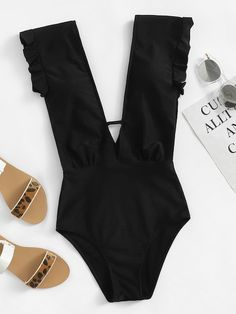 Shop Deep-V Ruffle Ruched One Piece Swimwear online. SHEIN offers Deep-V Ruffle Ruched One Piece Swimwear & more to fit your fashionable needs. Romwe, Polyester Material, Stuck, Cool Style, My Style, Bra Types, Beachwear For Women, One Piece Swimwear, One Piece Swimsuit Trendy