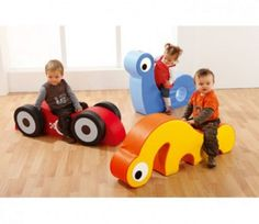 Toddler Rockin Ride-Ons -as children sit, crawl or jump they will develop both their imagination and motor skills. Infant Toddler Classroom, Toddler Playroom, Toddler Toys, Soft Play Equipment, Soft Play Area, Kids Cafe, Kids Daycare, Church Nursery, Baby Gym