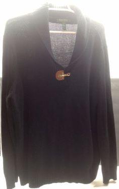 Lauren Ralph Lauren Cotton Knit Leather Gold Buckle Shawl Collar Sweater Size 2X
