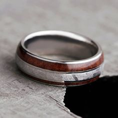 Redwood Wedding Band With Meteorite Titanium Ring Handmade