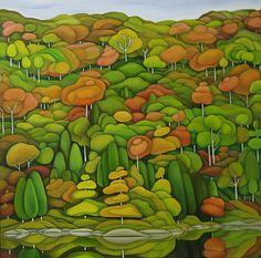 "Deb Gibson, Shades of Autumn, oil on canvas, 30""x30"""