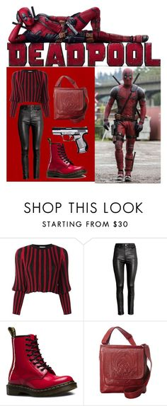 """""""Inspired by Deadpool"""" by izzy-wylde ❤ liked on Polyvore featuring Sonia Rykiel, H&M, Dr. Martens, Ropin West, contest and deadpool"""