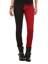 Red and black pants from Hot Topic   kinda look like Harley Quinn pants