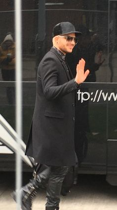 Adam arriving at the venue in Manchester