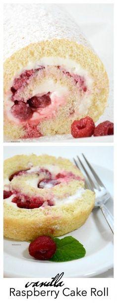 Vanilla Raspberry Cake Roll