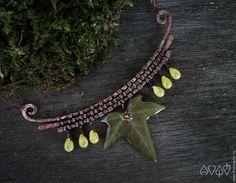 Купить Комплект украшений для  лесной эльфийки - комбинированный, медь с патиной, медная проволока, плющ, зеленый