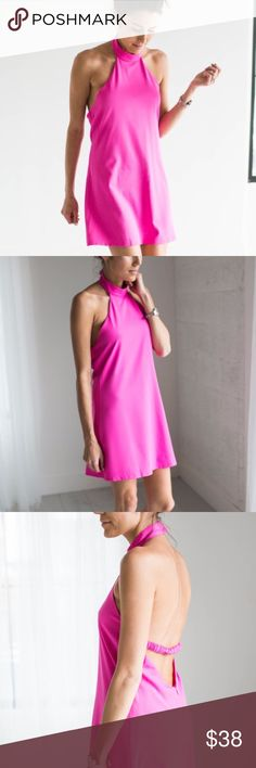 "Hot Pink High Neck Midi Dress This beautiful high neck dress is one of the most flattering and trendy fashions out there right now! It features a single stretch band back for a better fit and mid back detail with zipper. Snap closures around neck. Bust {36"".}Length {31"".} Brand-new. Does not come with tags from manufacturer. Polyester feel. Please inquire with any questions! Dresslooks exactly as pictured. Offers always welcome. Ily Couture Dresses Mini"