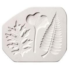 "A 7 1/2"" x 6 1/2"" plaster sprig mold for creating leaf shapes in clay. To transfer the design to your clay slab, place slab on mold, and either use a heavy clay roller, or press firmly with your hands"
