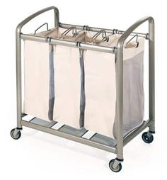 Seville Classics Deluxe 3 Bags Laundry Cart