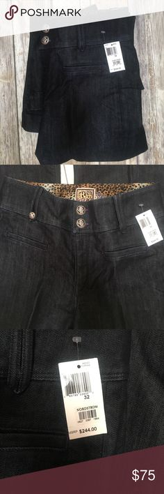 NWT! Rich & Skinny dark blue jeans These brand new Rich & Skinny jeans are Butterfinger cut. Four slit pockets: 2 front & 2 back. Wide waistband, fitted at waist & hips with wide leg flare. Super flattering. Ornate buttons! Size: 33 Inseam:33 Rich & Skinny Jeans Flare & Wide Leg