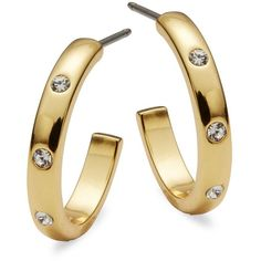 Kate Spade New York Infinity and Beyond Goldtone Small Hoops (195 RON) ❤ liked on Polyvore featuring jewelry, earrings, gold, dot jewelry, gold tone earrings, kate spade earrings, sparkly earrings and post earrings