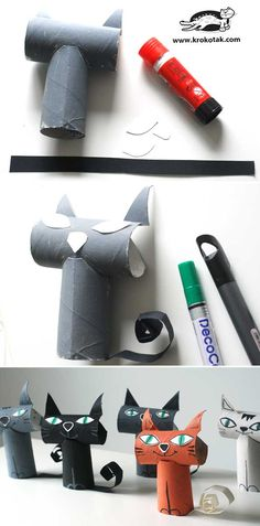 18 New Ideas For Cats Diy Projects Toilet Paper Diy Arts And Crafts, Diy Craft Projects, Fall Crafts, Halloween Crafts, Toilet Roll Craft, Toilet Paper Roll Crafts, Paper Crafts, Animal Crafts For Kids, Diy For Kids