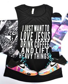 Jesus Coffee Heavy Things Gym Tank Muscle Tee by DarlingDeuce $24  Perfect outfit for Crossfit & Weightlifting  Muscle Tee by Fit Darlings Shoes: Nike Metcon 2 Shorts: lululemon Socks: Stance