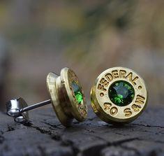 Bullet Earrings stud or post brass/gold Federal by WoodenTreasures