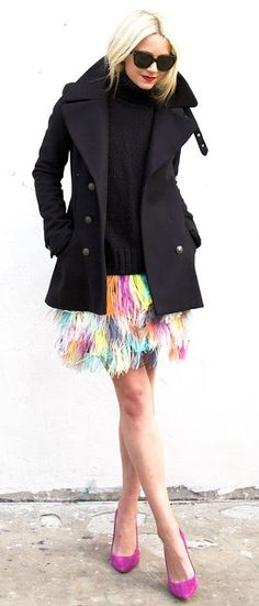 Muti Pastel Ostrich Feather Skirt Fall Street Style Inspo by Atlantic - Pacific
