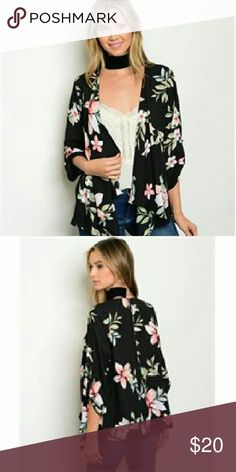 Floral Print Kimono Cardigan 3/4 flutter sleeve open front floral print kimomo cardigan. The fabric content is 100% polyester. I have them in sizes s, m,l. They come from a pet free/ smoke free home. I also have more styles/ colors + more added soon in my closet. Sweaters Cardigans