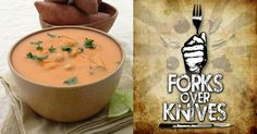 Puréed Spicy Sweet Potato with Chickpeas by Forks Over Knives. This soup combines sweet potatoes with earthy spices, a good dose of fresh ginger, and just a small amount of nut butter (gives depth of flavor without being too heavy or cloying). The soup is pureed and then whole chickpeas are added for more texture.