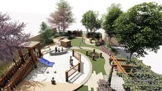 Early childhood play space. Green arbour, fort with a ramp and slide, swing, tunnel, decks, bamboo tunnel in the corner, bike path, sandpit, water play, music instruments. Sand Pit, Arbour, Bike Path, Water Play, Playgrounds, Child Care, Early Childhood, Decks, Paths