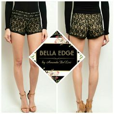 Black lace shorts 70% COTTON 30% NYLON. Adorable black lace over cream fabric. Surprisingly comfortable and totally fashionable. I also sell the matching top if interested  (4th pic). Sizes small to large. Bella Edge Boutique  Shorts