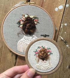 "5,080 Likes, 34 Comments -  Rachael (@usedthreads) on Instagram: ""Taking custom orders on the mini hair bun girl. In 2.5"" or 3"" hoops. Choose hair colour, flowers…"""