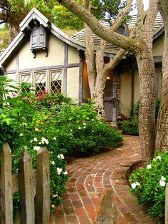 Bricks Paths, Dreams, Carmel California, Front Doors, Gardens, Small Home, House, Little Cottages, Fairies Tales