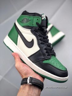 09c61f276ae Jordan Air 1 Pine Green SKU 555088-302 Black Green Toes New Year Deals