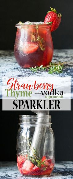Celebrate summer with this fresh, slightly sweet, slightly tart and fully delicious strawberry thyme vodka spritzer! Leave out the vodka to make it virgin! Keto Chocolate Mousse, Low Carb Chocolate, Chocolate Peanut Butter, Banana Carrot Muffins, Nutella, Vegan Truffles, Coconut Flour Recipes, Vodka, Cocktails