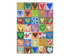 35 coeurs Cet art est un tic plus grand que 5 x 7 sur le bois. 35 places avec des 35 coeurs composé de toutes sortes de babioles, avec de la peinture acrylique, crayons de couleurs et plus. Les papiers d'échantillons sont un mélange de vintage, vintage antique, augmentée (dessiné