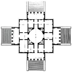 !central Palladio, Villa Rotunda, 1778. The plan as a centralised Mandala. The mandala essence of architectural structures as the aspiration to fuse the spiritual and material, divine and mortal.