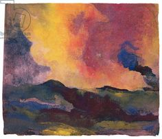 The Sea (w/c on paper), ca1911 by Emil Nolde (1867 - 1956). Artist bio: https://www.moma.org/collection_ge/artist.php?artist_id=4327 Wiki: https://en.wikipedia.org/wiki/Emil_Nolde