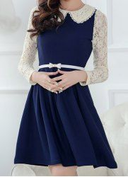 Lace Splicing Peter Pan Collar Color Block Long Sleeve Casual Dress For Women in Blue | Sammydress.com Mobile