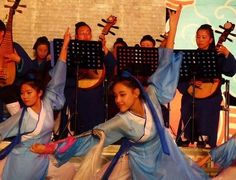 Daoist Music Festival. The dancers represent Maoshan.  Their hands are holding precise gestures -- shoujue -- and they're holding exorcistic flywhisks.