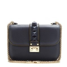 Valentino Lock Leather Shoulder Bag (€1.655) ❤ liked on Polyvore featuring bags, handbags, shoulder bags, blue, blue shoulder bag, real leather handbags, genuine leather purse, genuine leather handbags and 100 leather handbags