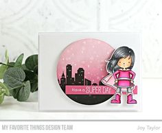 Made by Joy: Stamps: You're Super Die-namics: You're Super, Circle STAX Set Rectangle Word Window Frames Joy Taylor Card Making Inspiration, Making Ideas, Girl Inspiration, Birthday Card Sayings, Birthday Cards, Handmade Greeting Card Designs, Handmade Cards, Joy Taylor, No Rain