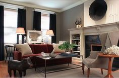Benjamin Moore Kingsport Gray is one of the best neutral paint colours for a dark or low light room. By Sean Michaels Design