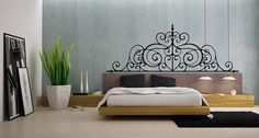 Headboard Vinyl Wall Decal Girls Bed Room by RespectPrinting, $23.99