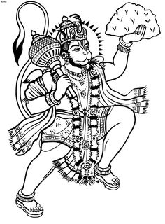 Kathakali Outline Hanuman coloring book hanuman