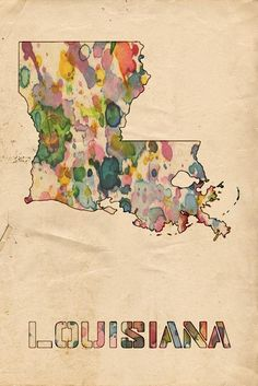 Louisiana Print featuring the painting Louisiana Map Vintage Watercolor by…